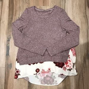 Sweaters - Wine heathered sweater with floral print shirting